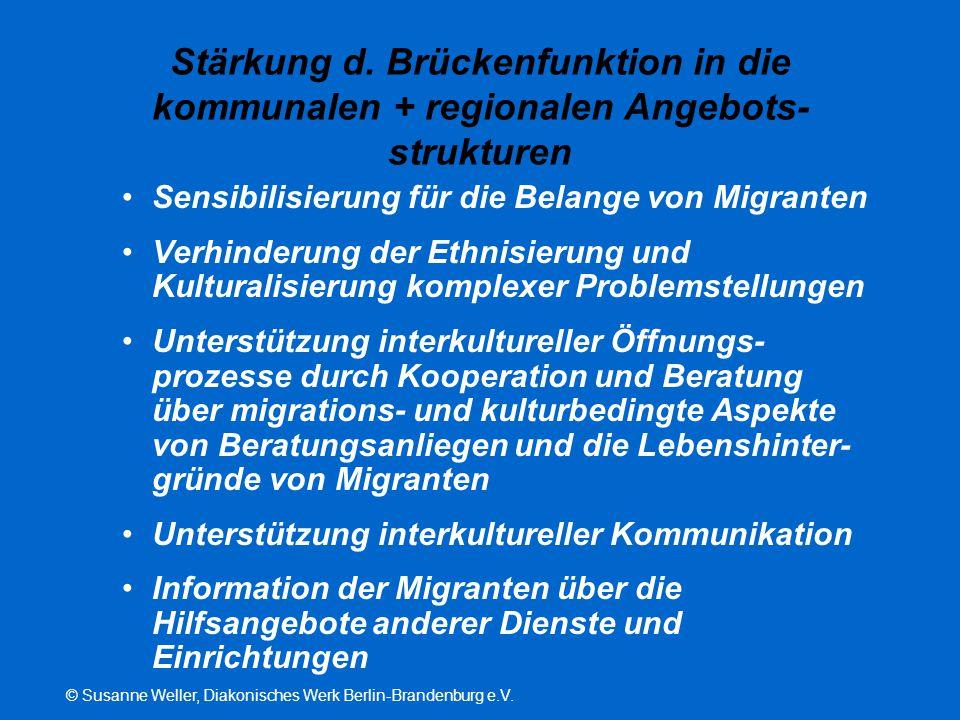 Stärkung d. Brückenfunktion in die kommunalen + regionalen Angebots-strukturen