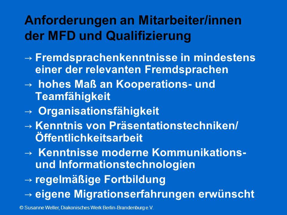 Anforderungen an Mitarbeiter/innen der MFD und Qualifizierung