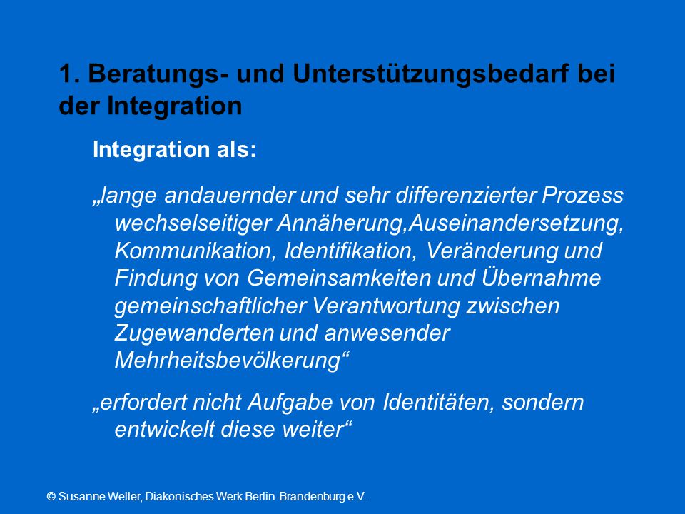 1. Beratungs- und Unterstützungsbedarf bei der Integration