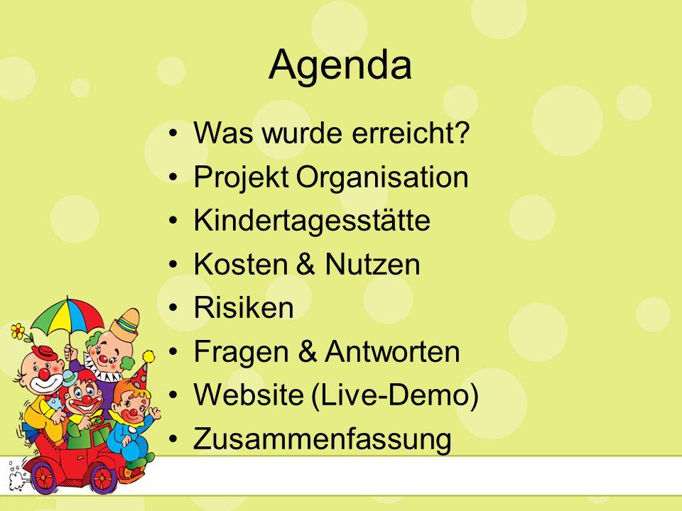 Agenda Was wurde erreicht Projekt Organisation Kindertagesstätte
