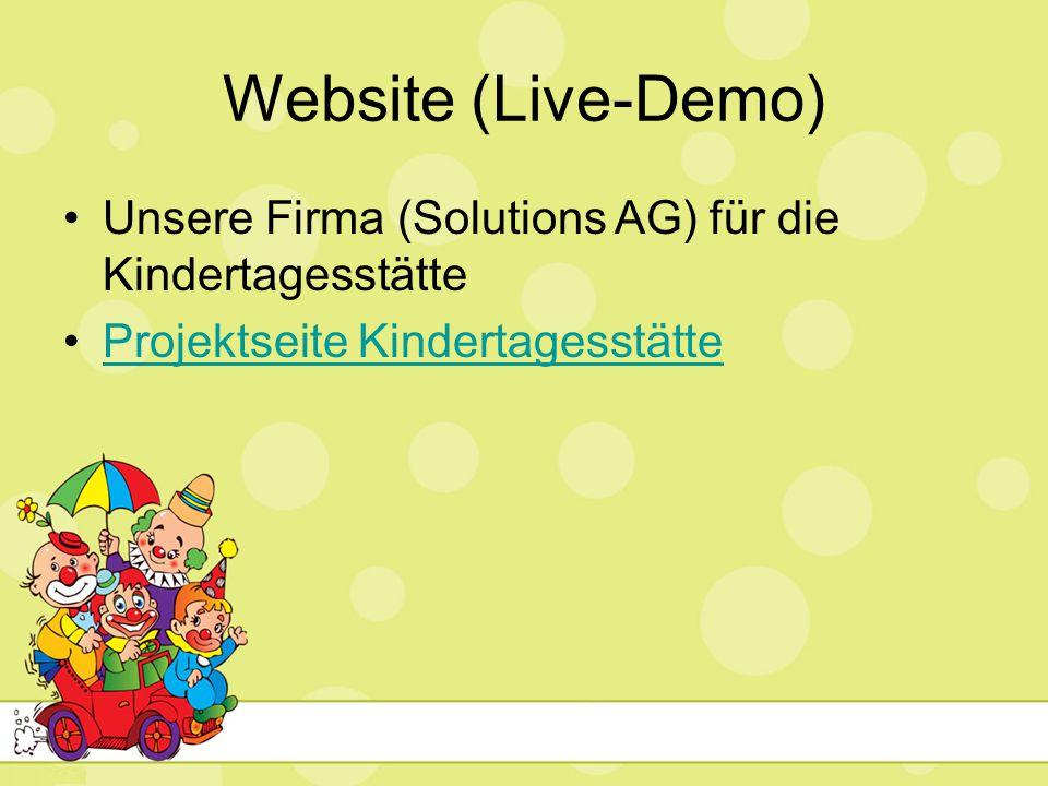 Website (Live-Demo) Unsere Firma (Solutions AG) für die Kindertagesstätte.