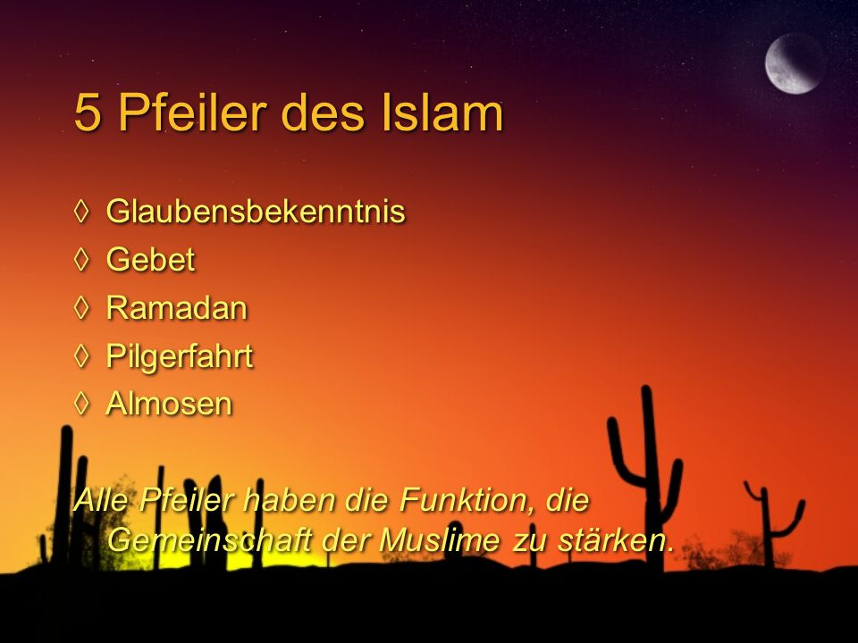 5 Pfeiler des Islam Glaubensbekenntnis Gebet Ramadan Pilgerfahrt