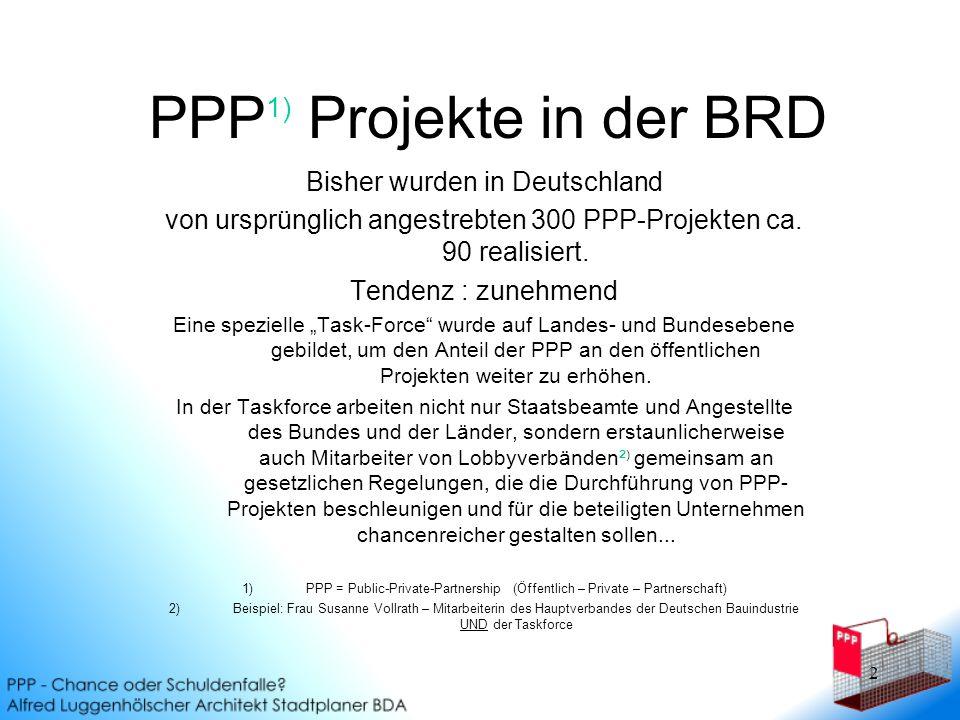 PPP1) Projekte in der BRD