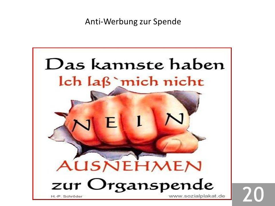 Anti-Werbung zur Spende