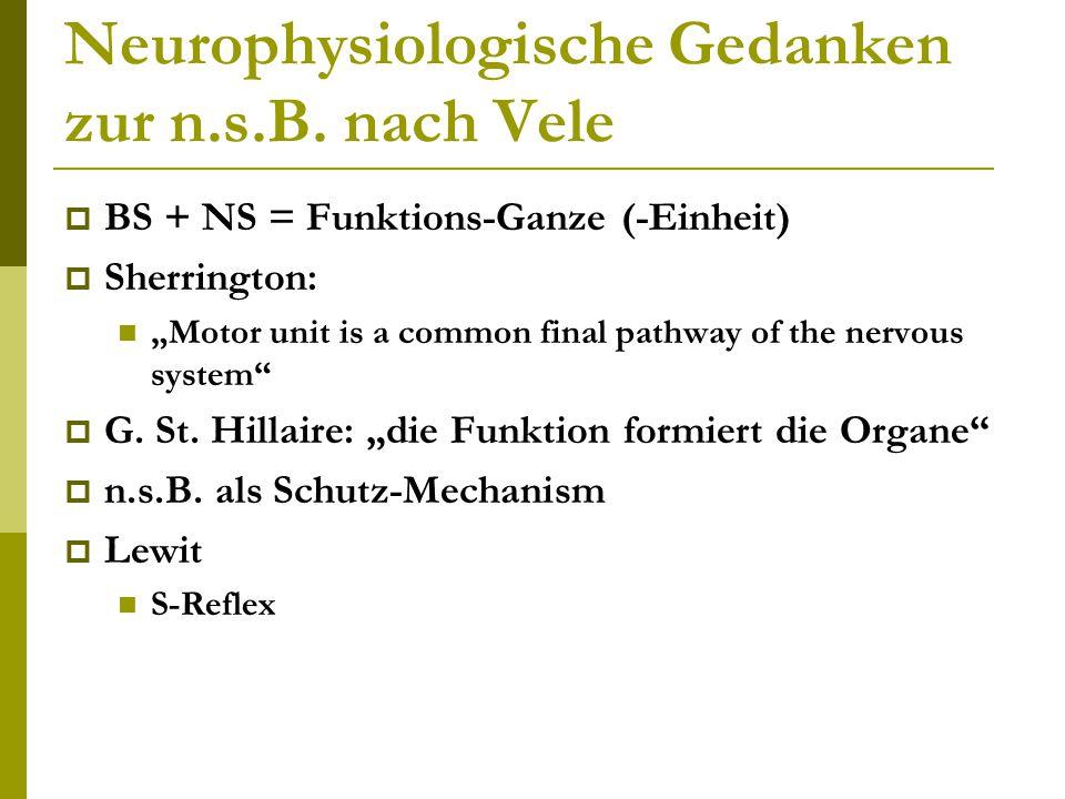 Neurophysiologische Gedanken zur n.s.B. nach Vele