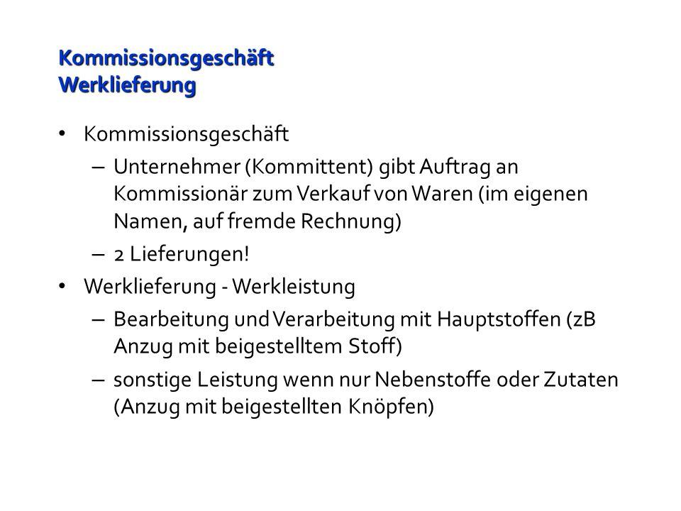 Kommissionsgeschäft Werklieferung