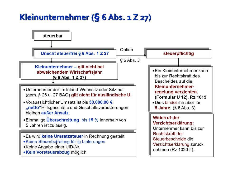 Kleinunternehmer (§ 6 Abs. 1 Z 27)