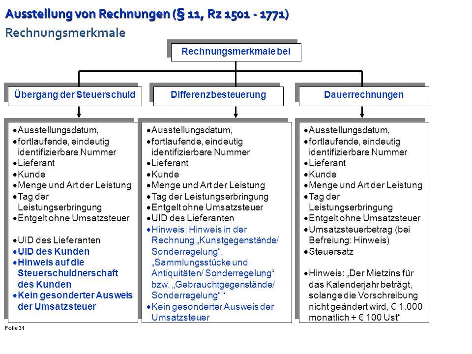 Ausstellung von Rechnungen (§ 11, Rz 1501 - 1771) Rechnungsmerkmale
