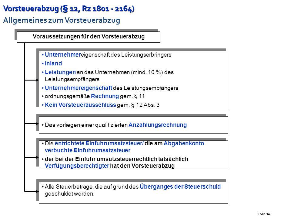 Vorsteuerabzug (§ 12, Rz 1801 - 2164) Allgemeines zum Vorsteuerabzug