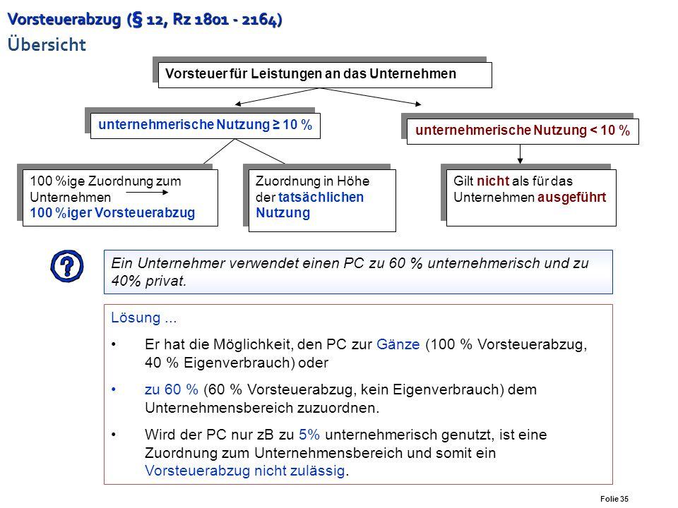 Vorsteuerabzug (§ 12, Rz 1801 - 2164) Übersicht