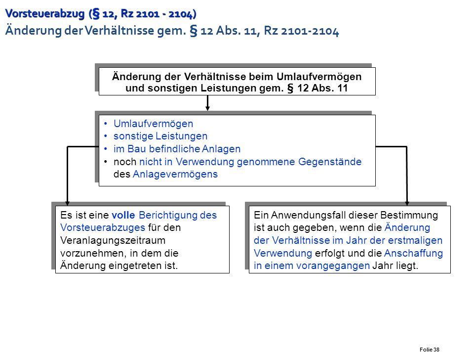 Vorsteuerabzug (§ 12, Rz 2101 - 2104) Änderung der Verhältnisse gem