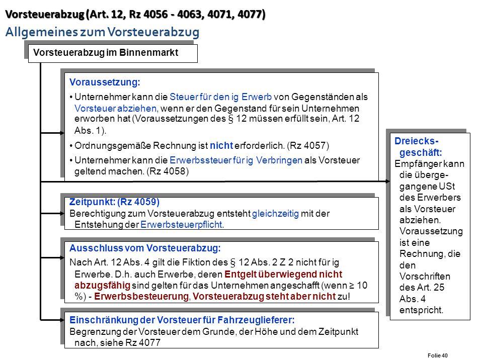 Vorsteuerabzug (Art. 12, Rz 4056 - 4063, 4071, 4077) Allgemeines zum Vorsteuerabzug