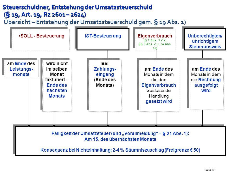 Steuerschuldner, Entstehung der Umsatzsteuerschuld (§ 19, Art