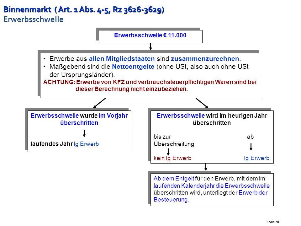 Binnenmarkt ( Art. 1 Abs. 4-5, Rz 3626-3629) Erwerbsschwelle