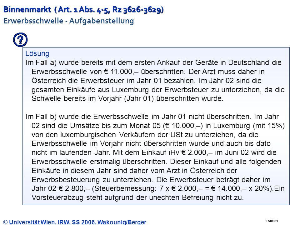 Binnenmarkt ( Art. 1 Abs. 4-5, Rz 3626-3629) Erwerbsschwelle - Aufgabenstellung