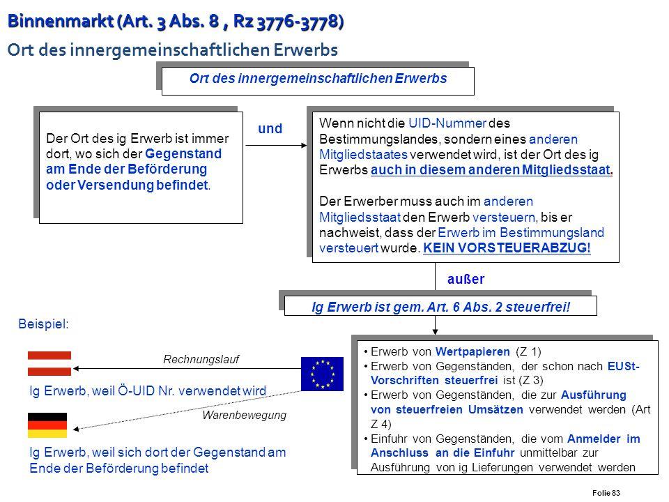 Binnenmarkt (Art. 3 Abs. 8 , Rz 3776-3778) Ort des innergemeinschaftlichen Erwerbs