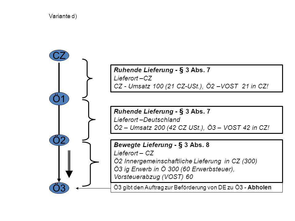 CZ Ö1 Ö2 Ö3 Ruhende Lieferung - § 3 Abs. 7 Lieferort –CZ