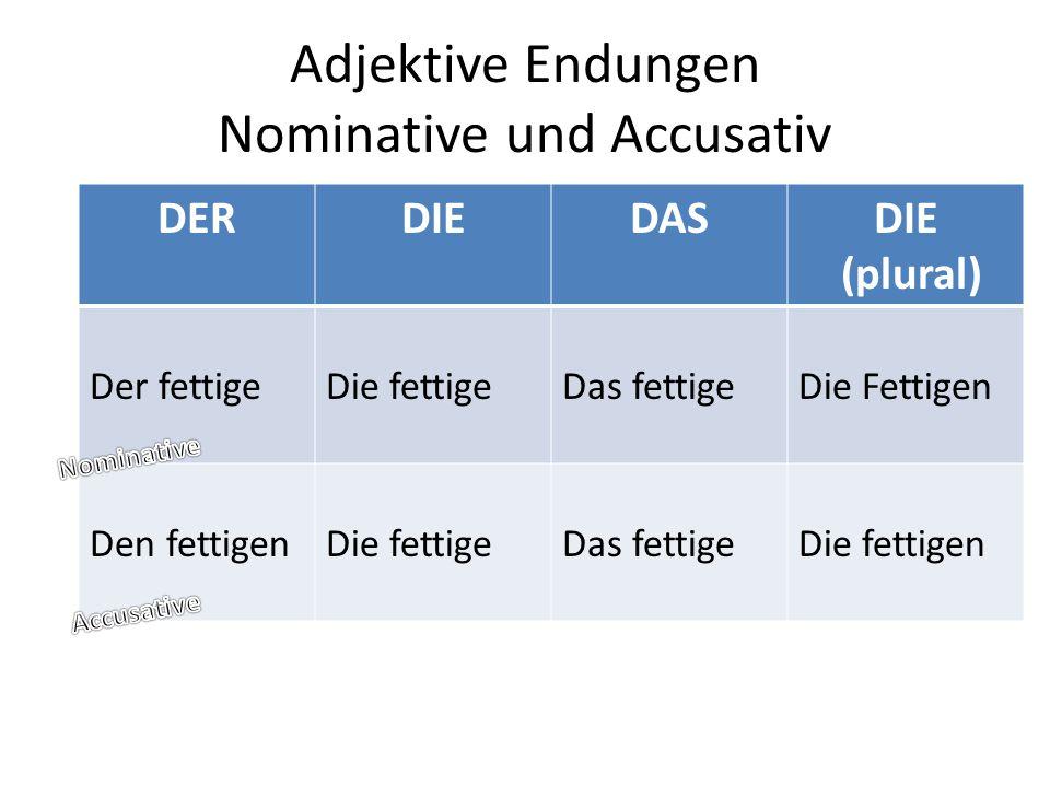 Adjektive Endungen Nominative und Accusativ