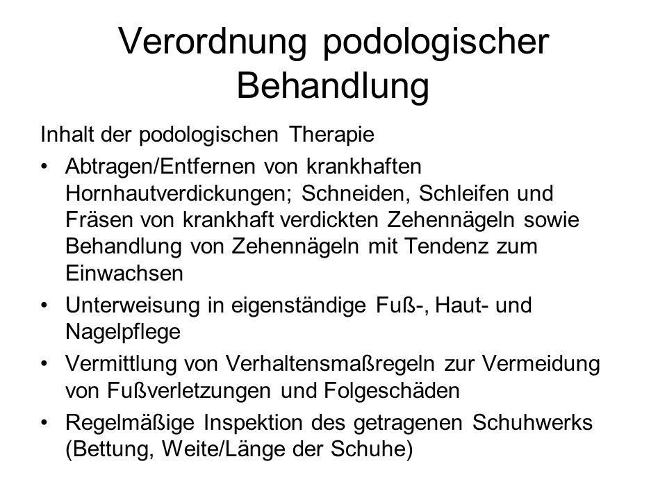 Verordnung podologischer Behandlung