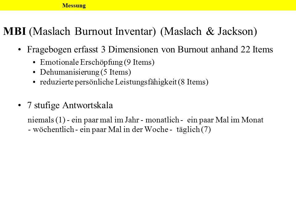 MBI (Maslach Burnout Inventar) (Maslach & Jackson)