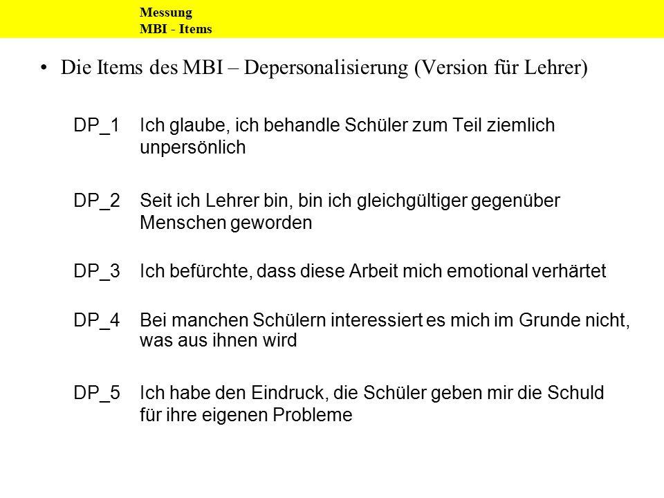Die Items des MBI – Depersonalisierung (Version für Lehrer)