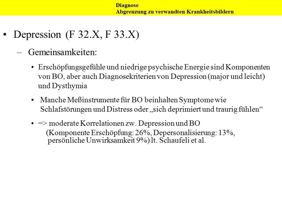 Depression (F 32.X, F 33.X) Gemeinsamkeiten: