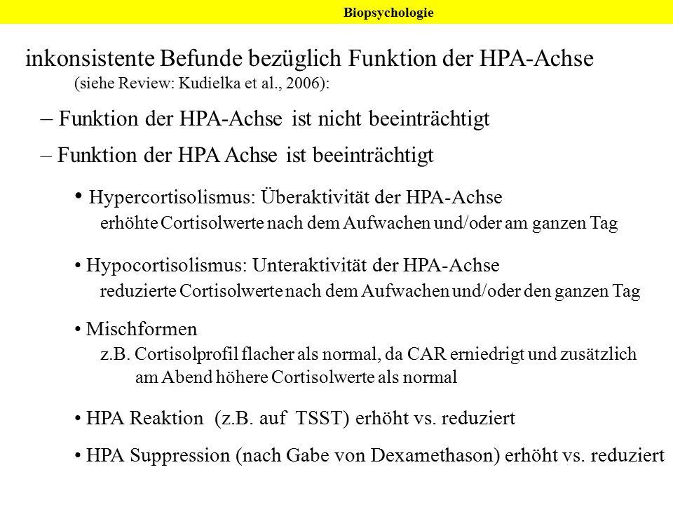 inkonsistente Befunde bezüglich Funktion der HPA-Achse