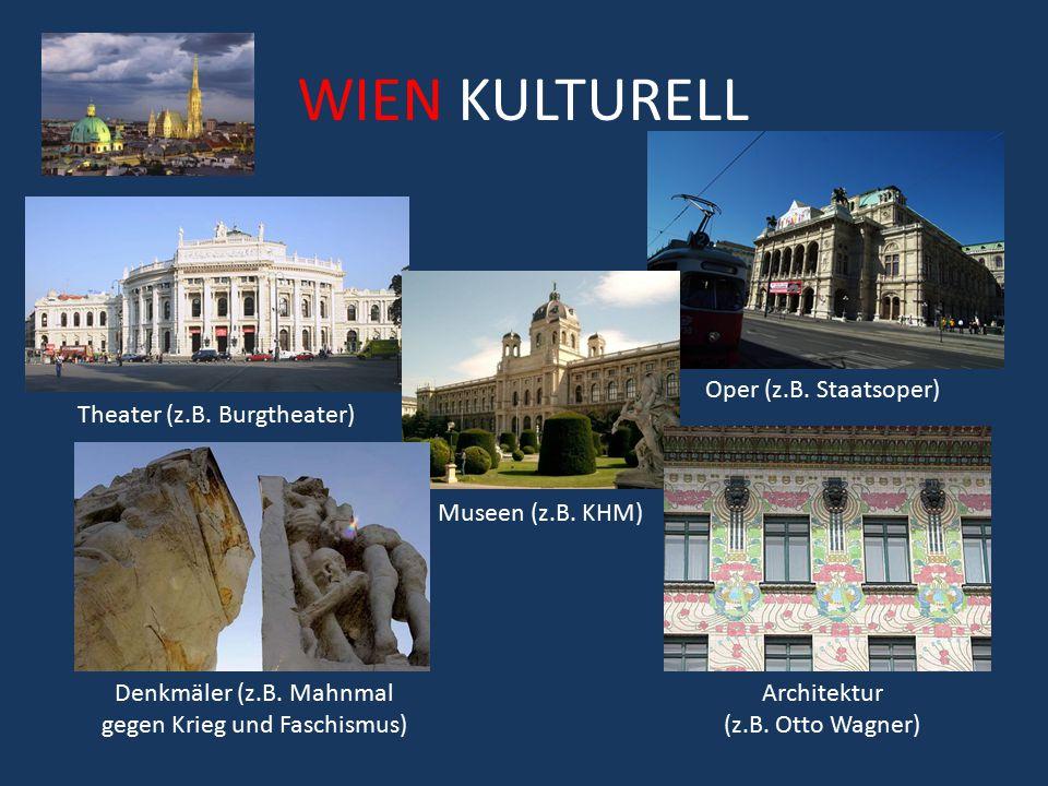 WIEN KULTURELL Oper (z.B. Staatsoper) Theater (z.B. Burgtheater)