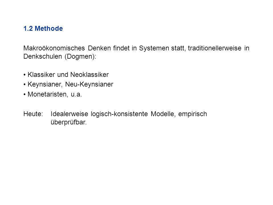 1.2 Methode Makroökonomisches Denken findet in Systemen statt, traditionellerweise in Denkschulen (Dogmen):