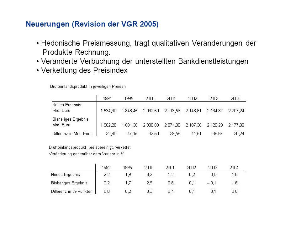 Neuerungen (Revision der VGR 2005)