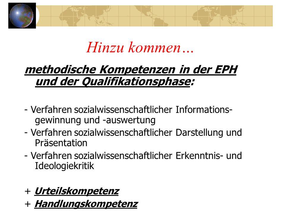 Hinzu kommen… methodische Kompetenzen in der EPH und der Qualifikationsphase: