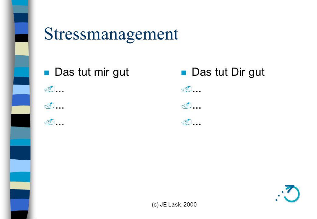 Stressmanagement Das tut mir gut ... Das tut Dir gut ...