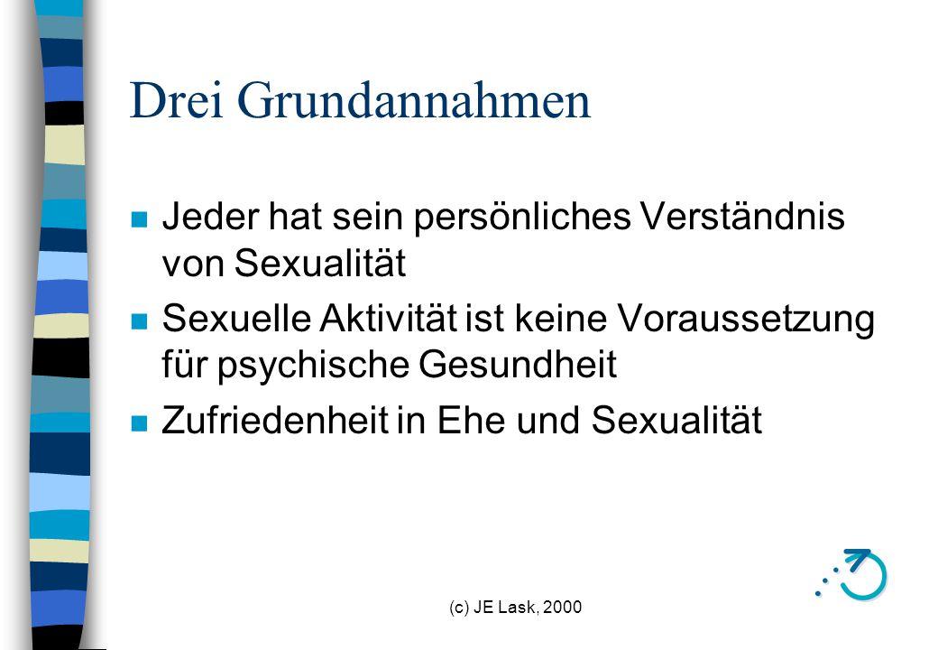 Drei Grundannahmen Jeder hat sein persönliches Verständnis von Sexualität. Sexuelle Aktivität ist keine Voraussetzung für psychische Gesundheit.