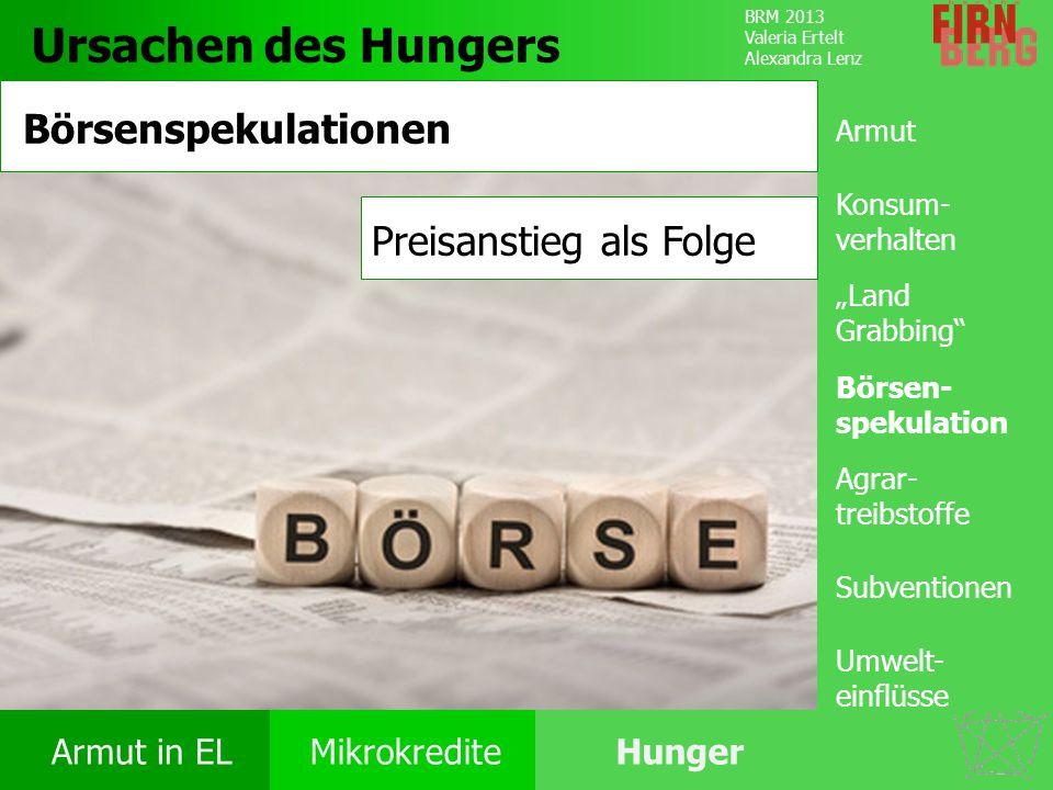 Ursachen des Hungers Börsenspekulationen Preisanstieg als Folge Armut
