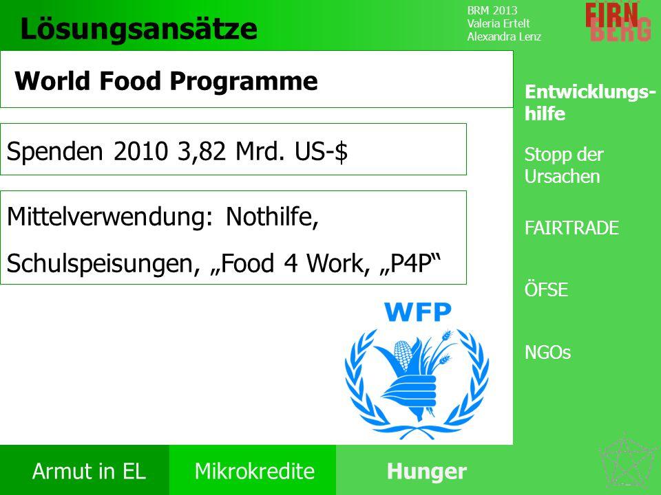 Lösungsansätze World Food Programme Spenden 2010 3,82 Mrd. US-$