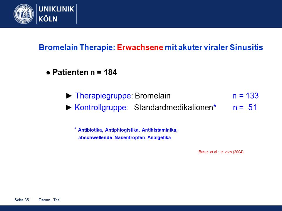 Bromelain Therapie: Erwachsene mit akuter viraler Sinusitis