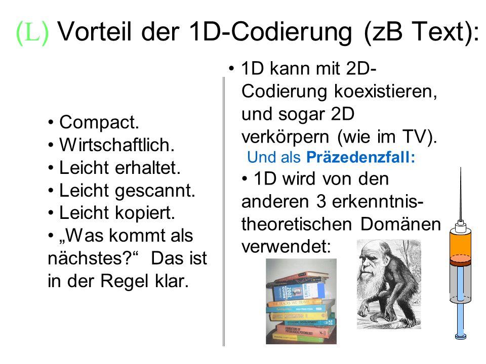 (L) Vorteil der 1D-Codierung (zB Text):