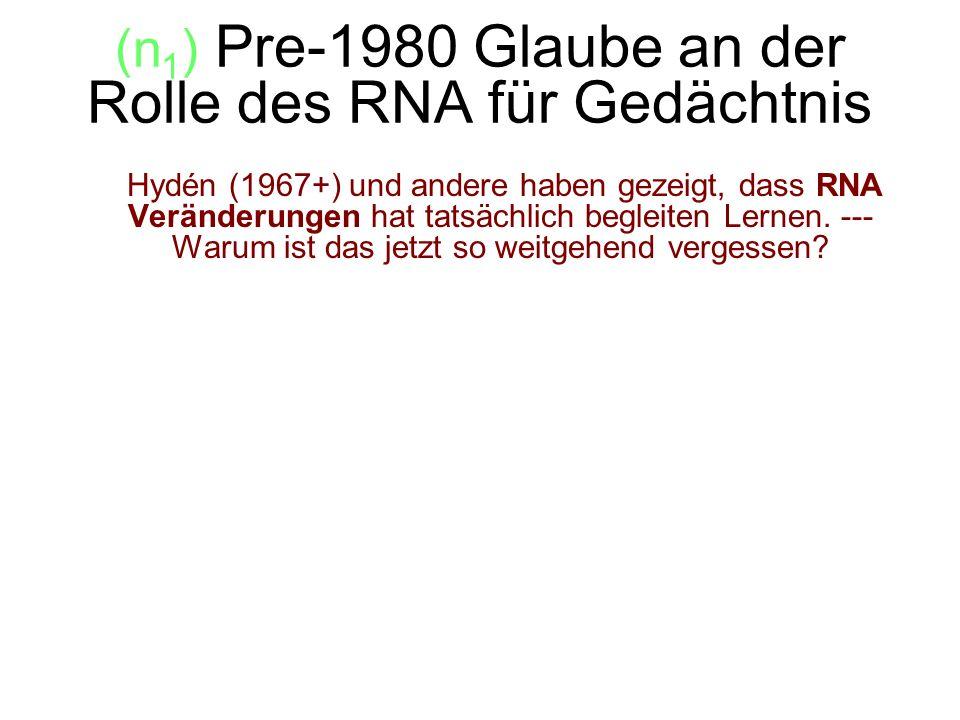 (n1) Pre-1980 Glaube an der Rolle des RNA für Gedächtnis