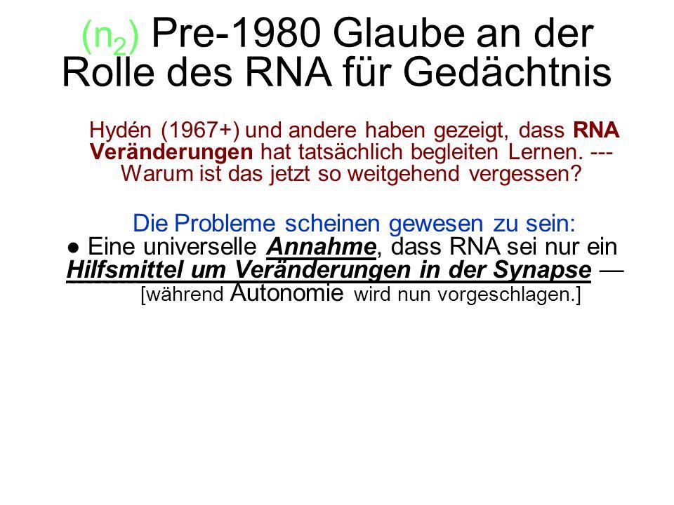 (n2) Pre-1980 Glaube an der Rolle des RNA für Gedächtnis