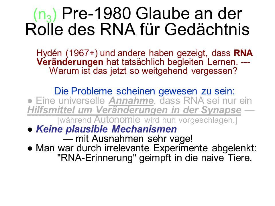 (n3) Pre-1980 Glaube an der Rolle des RNA für Gedächtnis