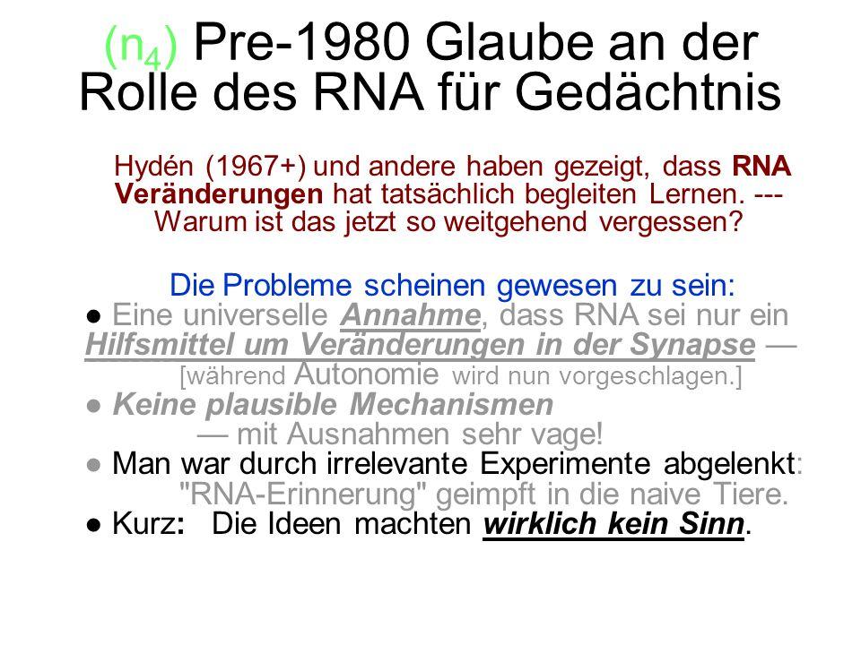 (n4) Pre-1980 Glaube an der Rolle des RNA für Gedächtnis