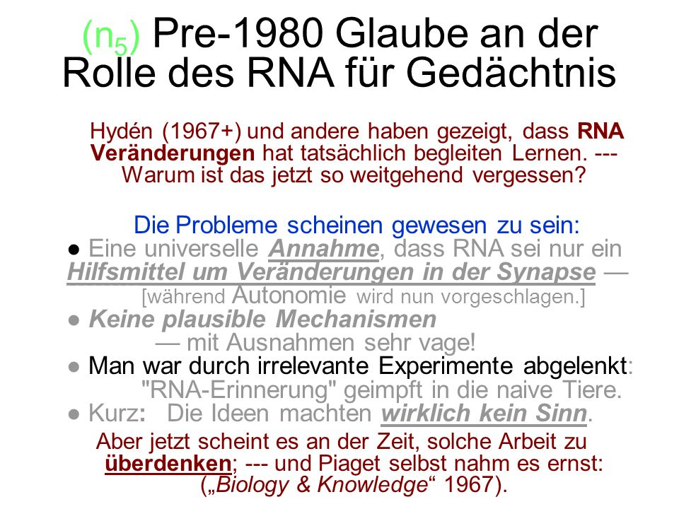(n5) Pre-1980 Glaube an der Rolle des RNA für Gedächtnis