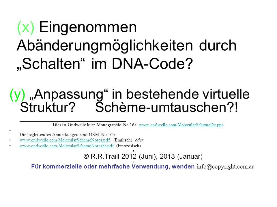 """(x) Eingenommen Abänderungmöglichkeiten durch """"Schalten im DNA-Code"""