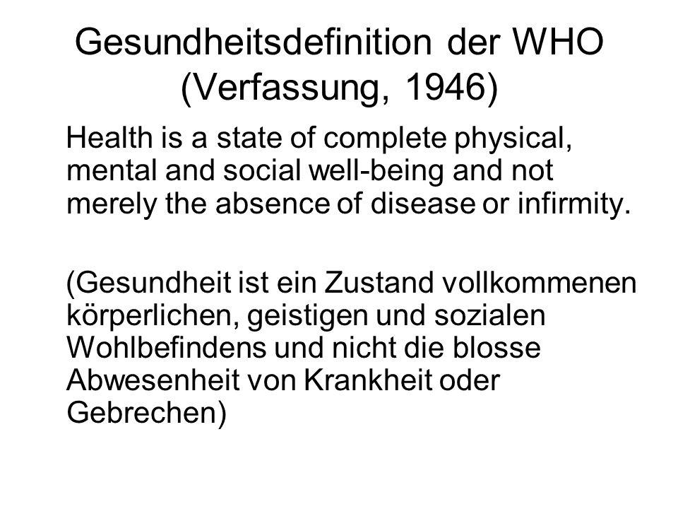 Gesundheitsdefinition der WHO (Verfassung, 1946)