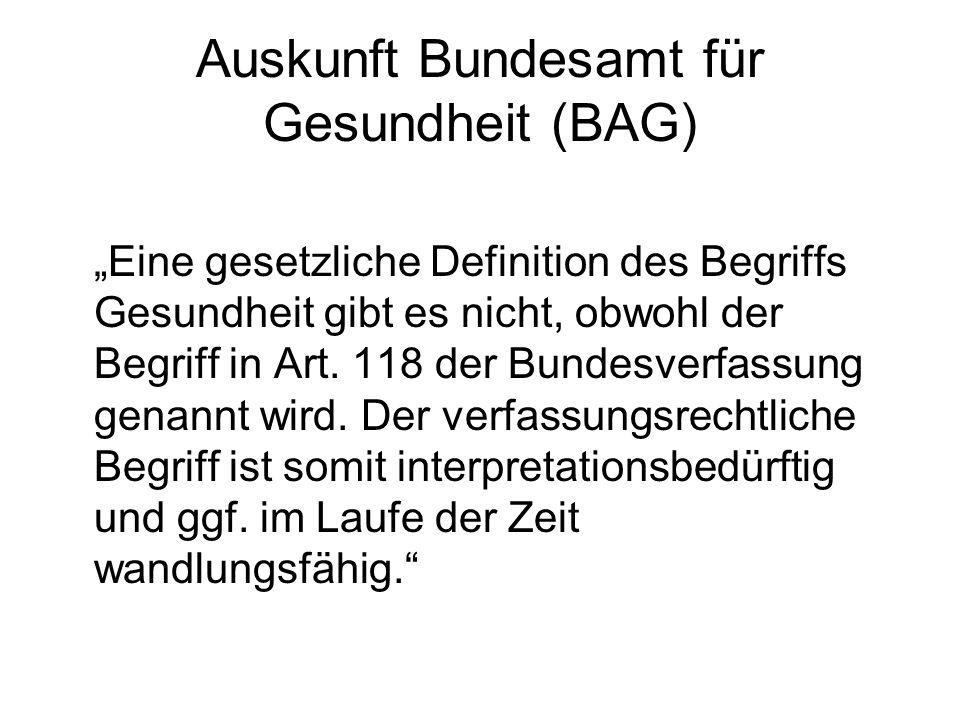 Auskunft Bundesamt für Gesundheit (BAG)