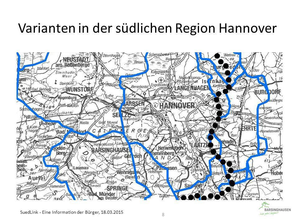 Varianten in der südlichen Region Hannover