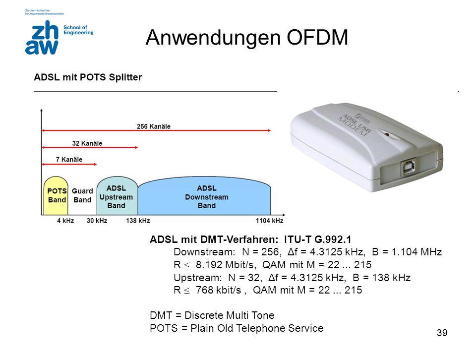 Anwendungen OFDM ADSL mit DMT-Verfahren: ITU-T G.992.1