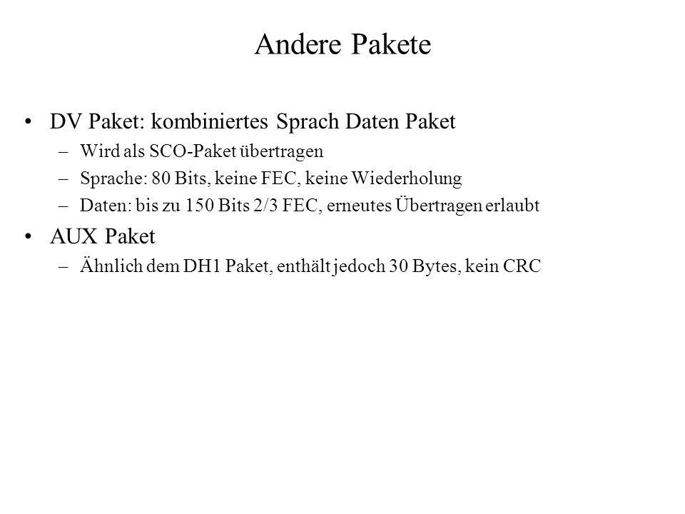 Andere Pakete DV Paket: kombiniertes Sprach Daten Paket AUX Paket