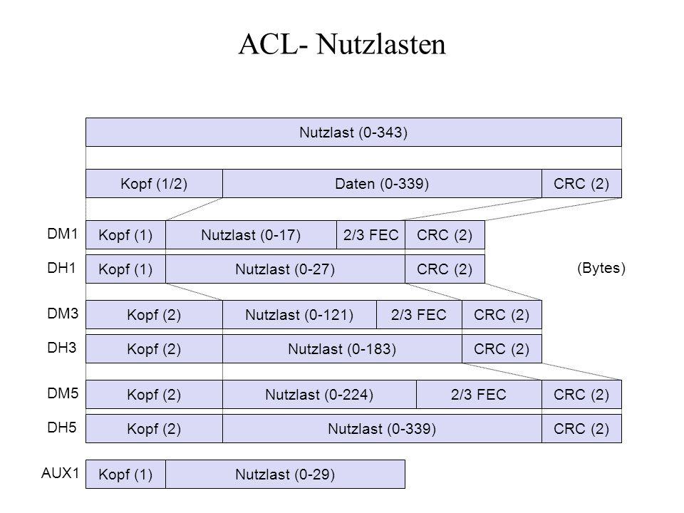 ACL- Nutzlasten Nutzlast (0-343) Kopf (1/2) Daten (0-339) CRC (2) DM1