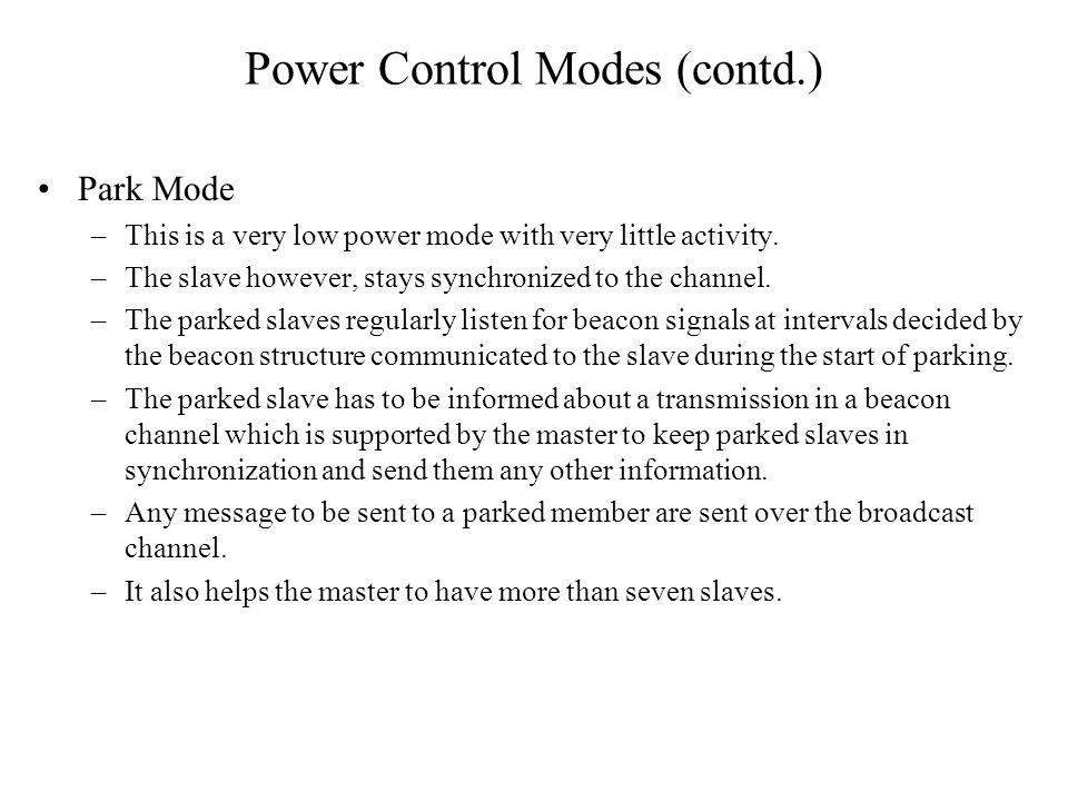 Power Control Modes (contd.)